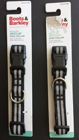 Boots & Barkley Black/Grey Reflective Medium Dog Collars (2 Avail) in Chicago, Illinois