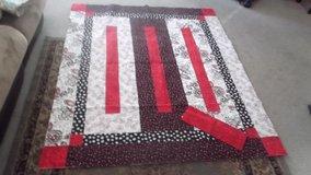 Beautiful handmade red, black and white quilt in Naperville, Illinois