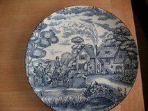 """REDUCED"" Large Blue Farmhouse Design Plate in Lakenheath, UK"